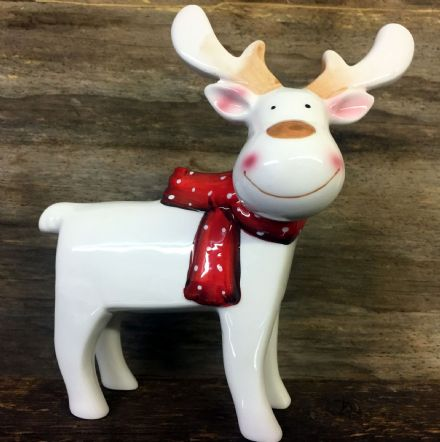 Cute White Reindeer Polished Glazed Ceramic Ornament with Red Bow 20 cm